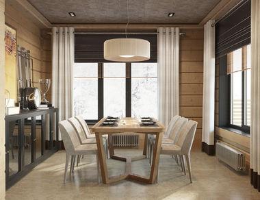 Столовая в доме из клееного бруса