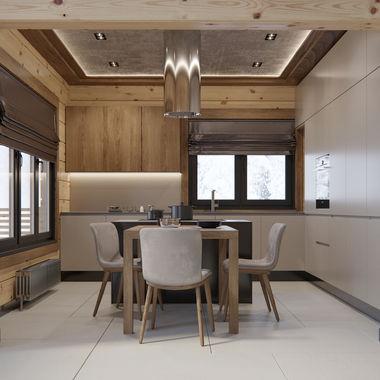 Интерьер кухни в доме из клеёного бруса