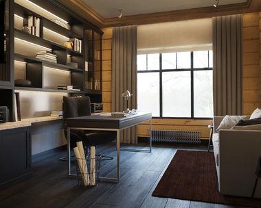 Интерьер кабинета в доме из клееного бруса