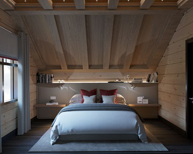 Интерьер гостевой спальни в доме из клеёного бруса
