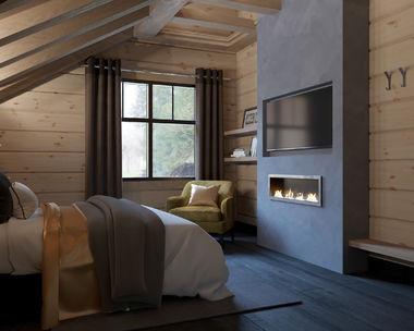 Гостевая спальня с камином в доме из клееного бруса