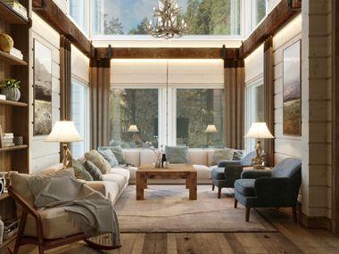 Дизайн-проект интерьера в доме из клееного бруса