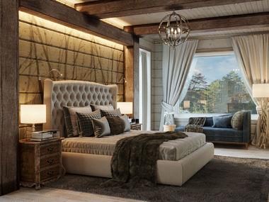 спальня в доме из клееного бруса honka
