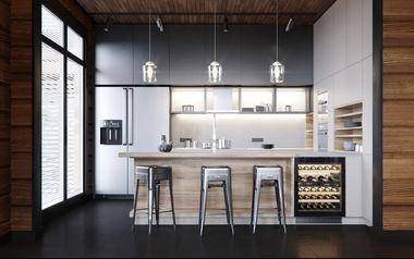 Кухня в доме из клееного бруса