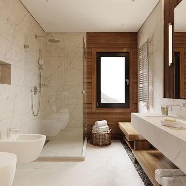 Ванная комната в доме из клееного бруса