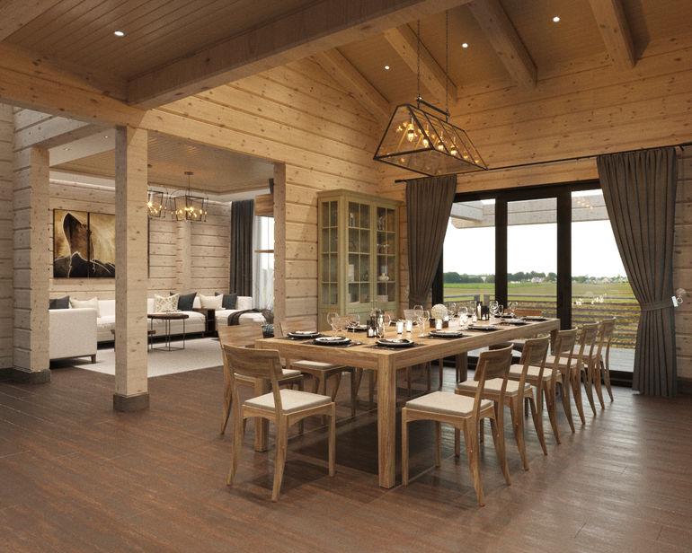 Деревянный дом с этническими мотивами для большой семьи с восточными корнями